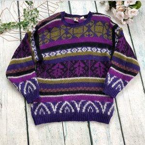 Vintage Alison H sweater purple green Small wool